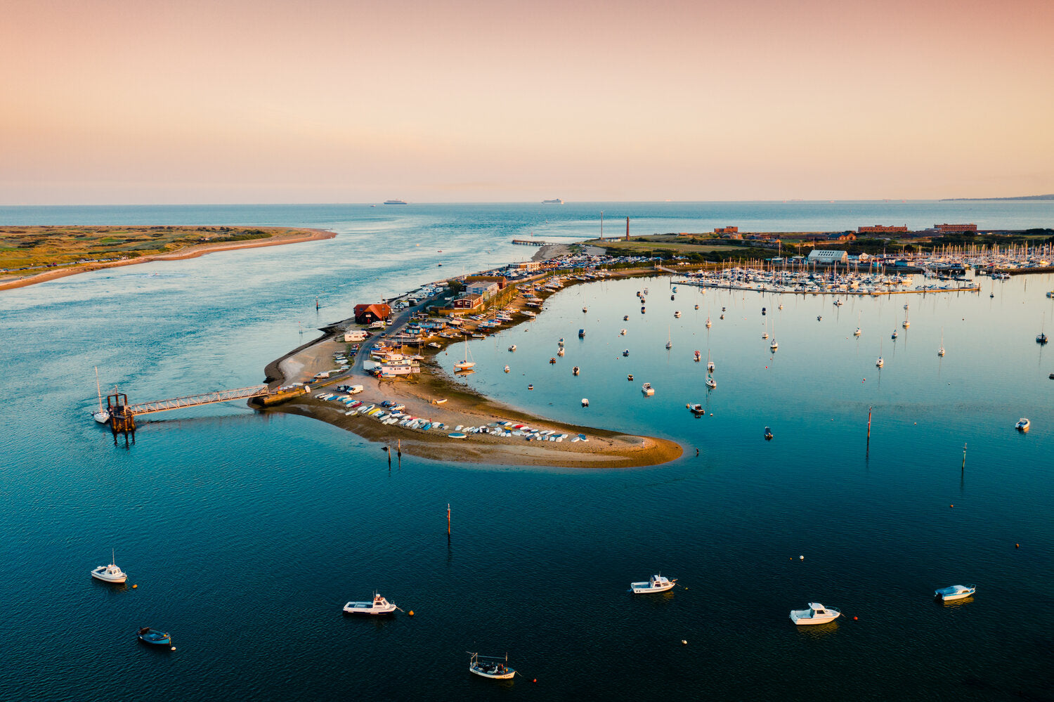 'Sunset at Eastney Harbour' Photo Aerial Drone Photo Print