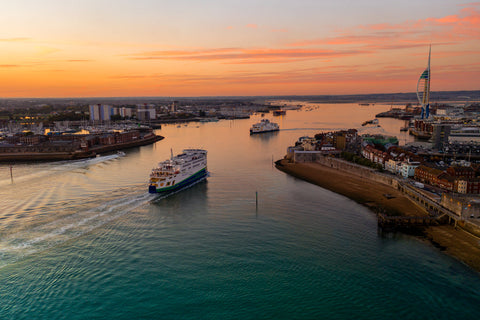 'Autumn Sunset at Portsmouth Harbour' Aerial Drone Photo Print