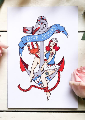 Love Pompey Anchor Sailor Girl Print