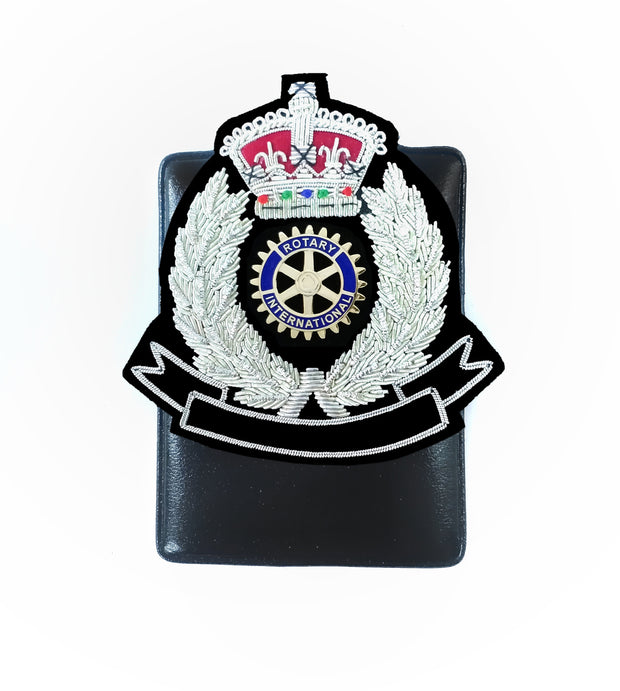 Rotary Embroidery Badge Silver Crown with Magnetic Holder