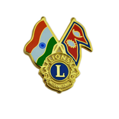 Lions, India and Nepalese Flag Pin - Awards California