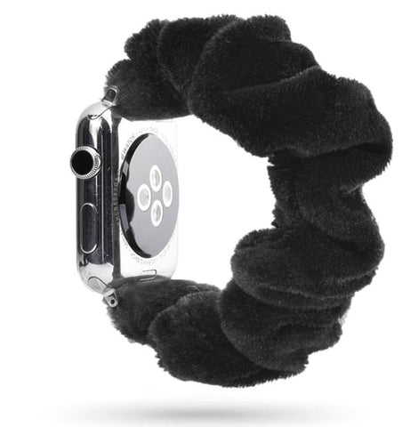 Black Fuzzy Watch Scrunchie