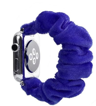 Blue Fuzzy Watch Scrunchie