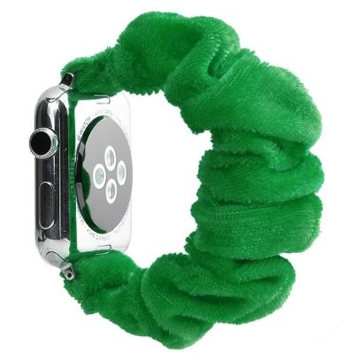 Green Fuzzy Watch Scrunchie