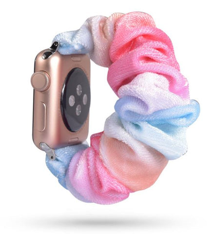 Rainbow Fuzzy Watch Scrunchie