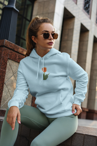 woman with tulip hoodie blue