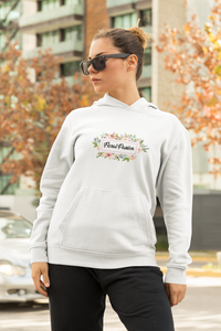Floral Passion Cold Weather Unisex Hoodie with Circle  Flower Logo Design