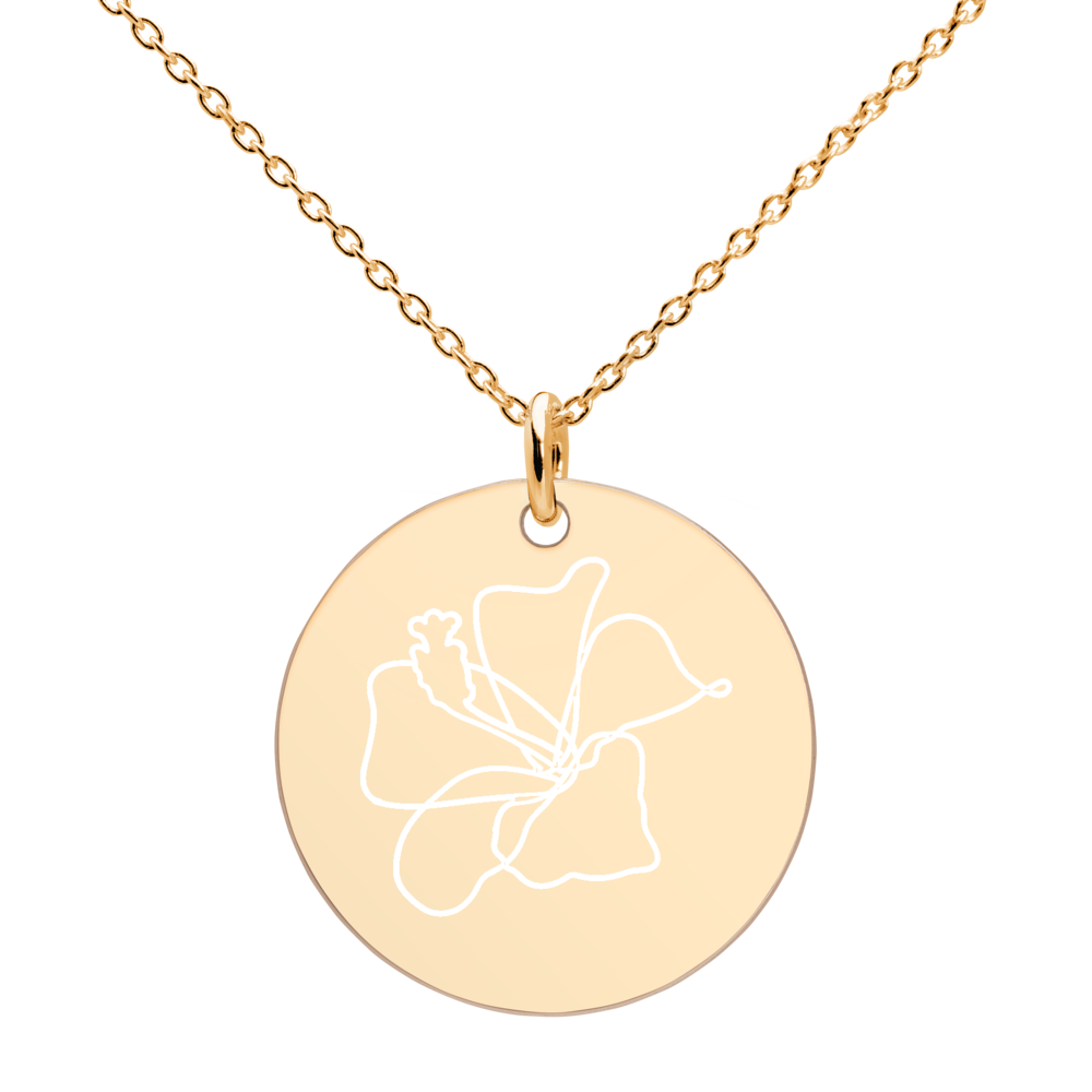 Rose Silver Disc Necklace