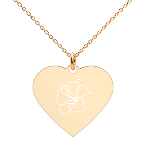 Hibiscus Engraved Silver Heart Necklace