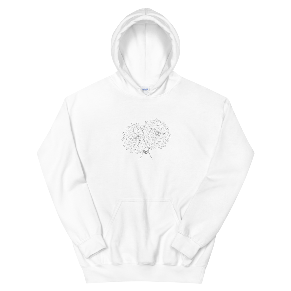 Extra Warmth and Style with Dual Dahlias Unisex Hoodie| Floral Passion