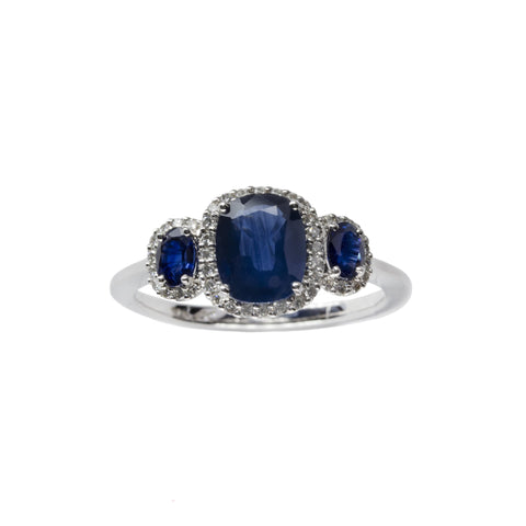 2.01Ct 14Kt White Gold Genuine Royal Blue Sapphire and Diamond Ring