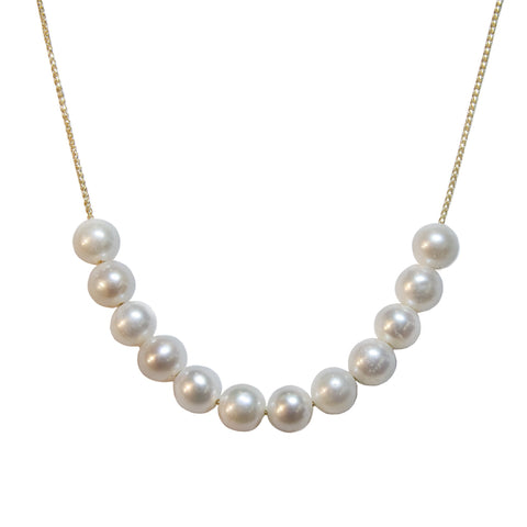 14kt yellow gold custom pearl necklace