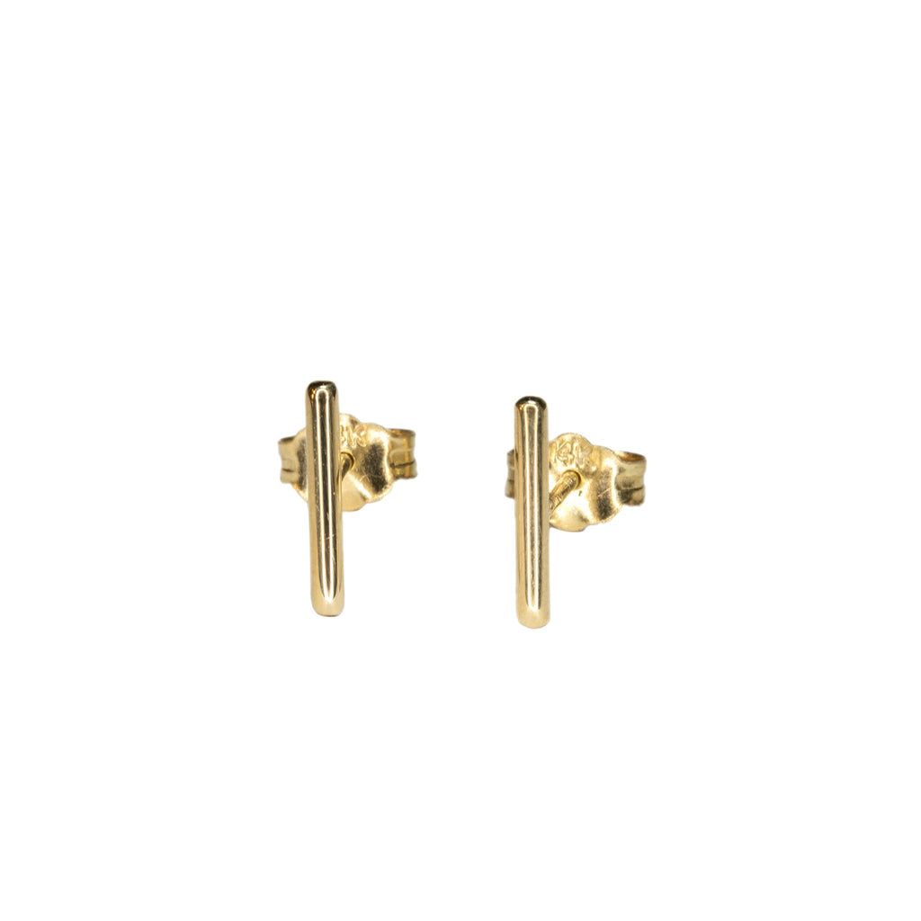 Custom 14k gold bar earrings clasp back