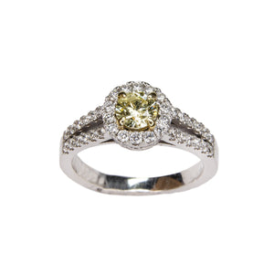 yellow diamond split shank 14k white gold with diamond halo accents