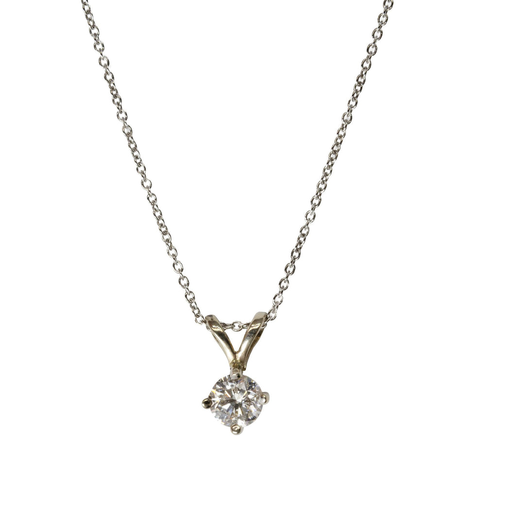 14kt white gold 4 prong diamond pendant with white gold chain