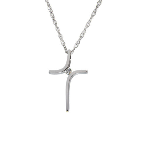 14k gold cross over diamond cross necklace