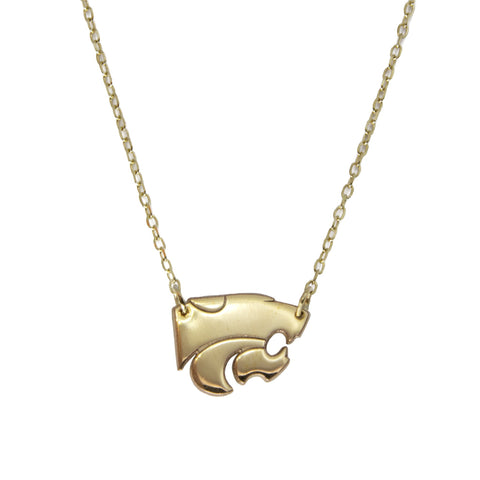 10kt Yellow Gold K-State Pendant on a 14kt Yellow Gold Chain Necklace-Custom Made K State Necklace.