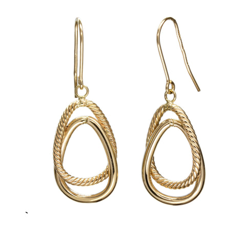 14k yellow gold interlocking dangle earrings