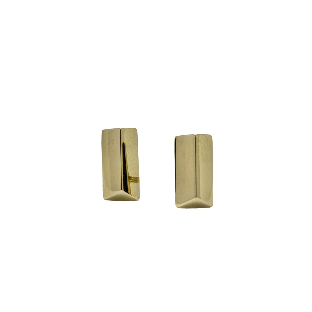 14k yellow gold polished bar earrings