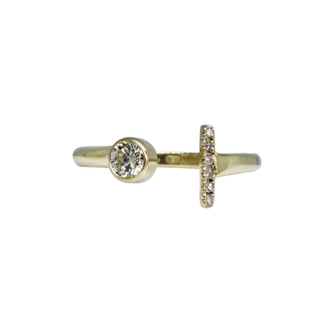 14k yellow gold Open Concept Social Distancing ring