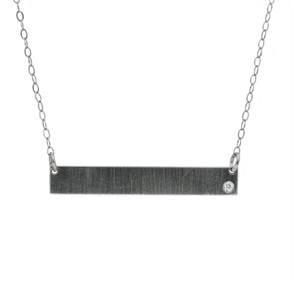 Engravable Bar Necklace with a Diamond