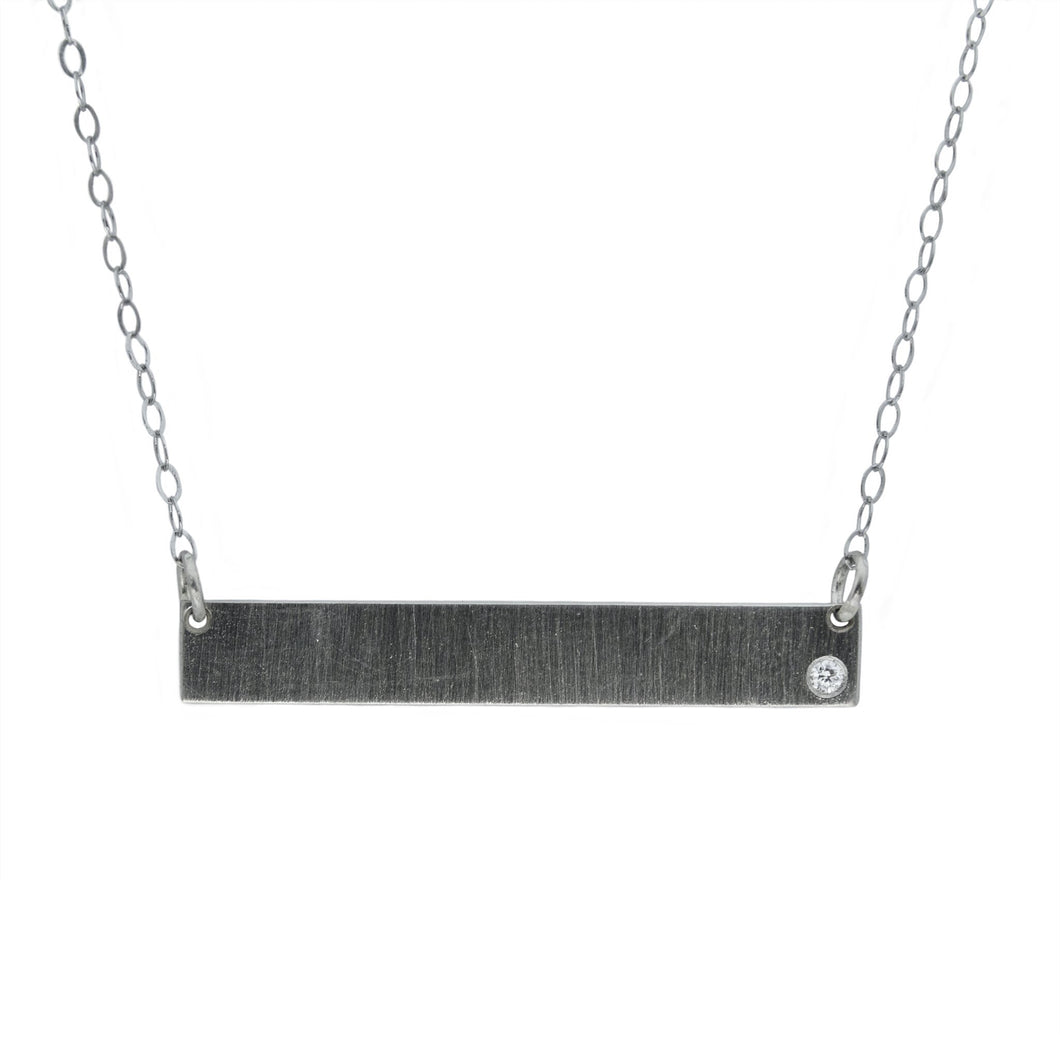 Engravable Bar Necklace with .02Ct Diamond