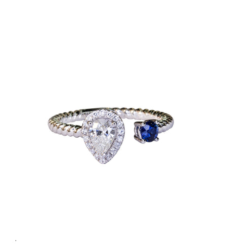 .35ct pear cut diamond and sapphire open concept custom 14kt white gold ring