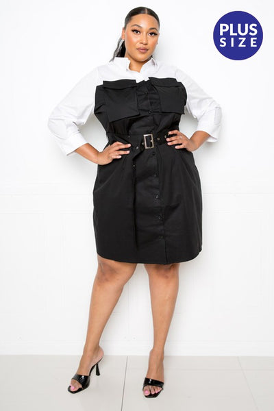 B108 CONTRAST SHIRT DRESS WITH POCKETS NARR PLUS