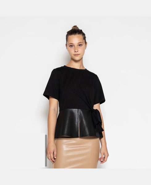 B105 BLACK BLOUSE WITH FAUX LEATHER HEMS NARR