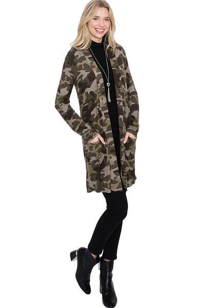 B233 CAMOUFLAGE CARDIGAN DUSTER PLUS NARR