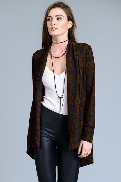 B234 BROWN GIRAFFE ANIMAL PRINT SWEATER CARDIGAN DUSTER NARR