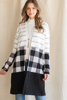B236 WHITE/BLACK STRIPES AND CHECKERED CARDIGAN NARR