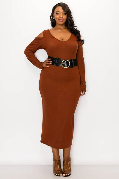 B258 Rib fabric cold shoulder long sleeves midi dress with belt. NARR