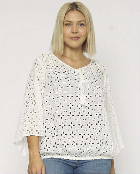 B260 White plus size eyelet top NARR