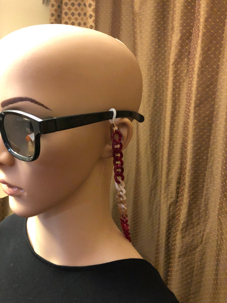 EC 003 RED AND WHITE ALTERNATING EYEWEAR CHAIN