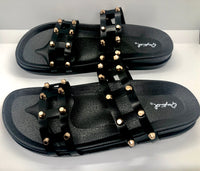 SH11 GOLDEN STUDDED BLACK SLIPPERS