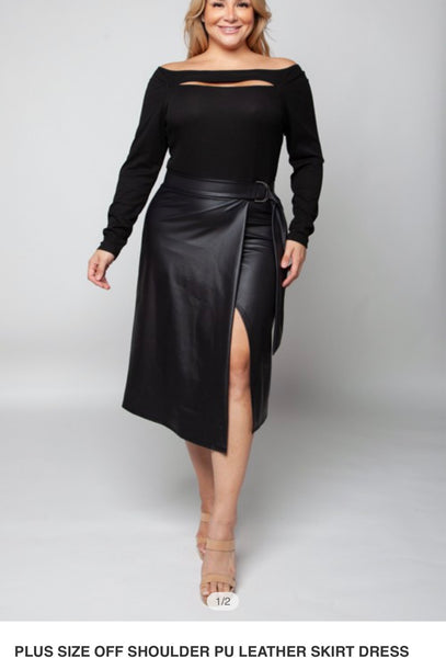 B239 BLACK OFF SHOULDER LEATHER SKIRT DRESS NARR PLUS