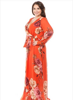 B201 ORANGE FLORAL MAXI DRESS NARR PLUS