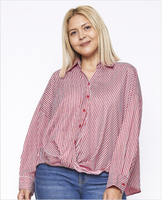 B259 Red plus size stripe button down top with twist accent NARR