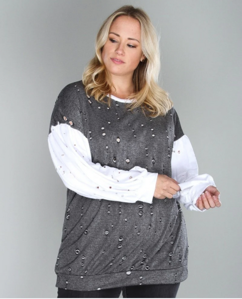 B261 plus size color contrast distressed knit top NARR