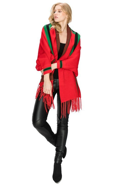 B243 RED DESIGNER STYLED FANCY SLEEVED PONCHO WITH TASSEL NARR