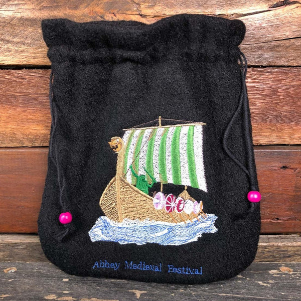 Embroidered Wool Bag - Viking Boat
