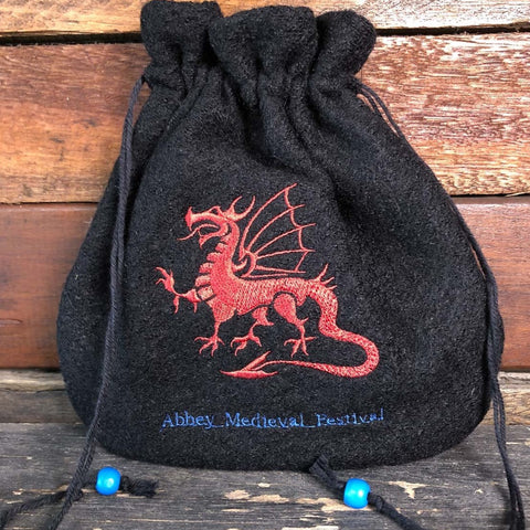 Embroidered Wool Bag - Red Dragon