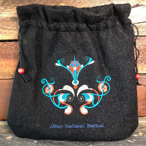 Embroidered Wool Bag - Medieval Celtic