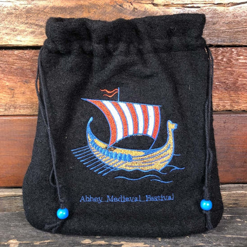 Embroidered Wool Bag - Viking Boat #2