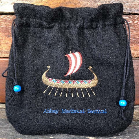 Embroidered Wool Bag - Viking Ship #3