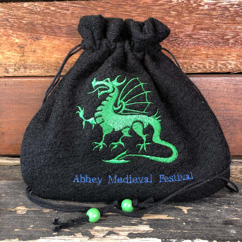 Embroidered Wool Bag - Green Dragon