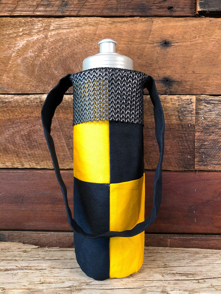 Water Bottle Tote - Black & Yellow