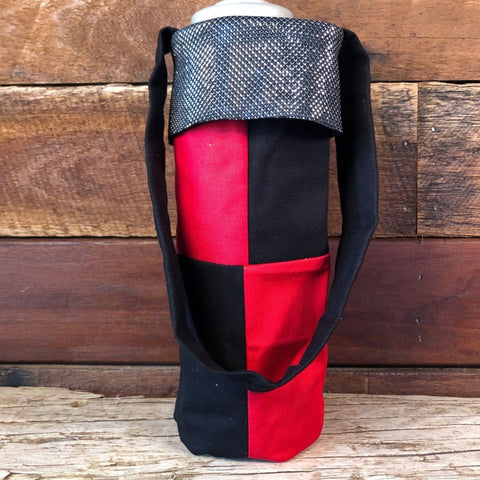 Water Bottle Tote - Black & Red
