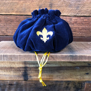 Velvet drawstring bag - Royal blue and Gold